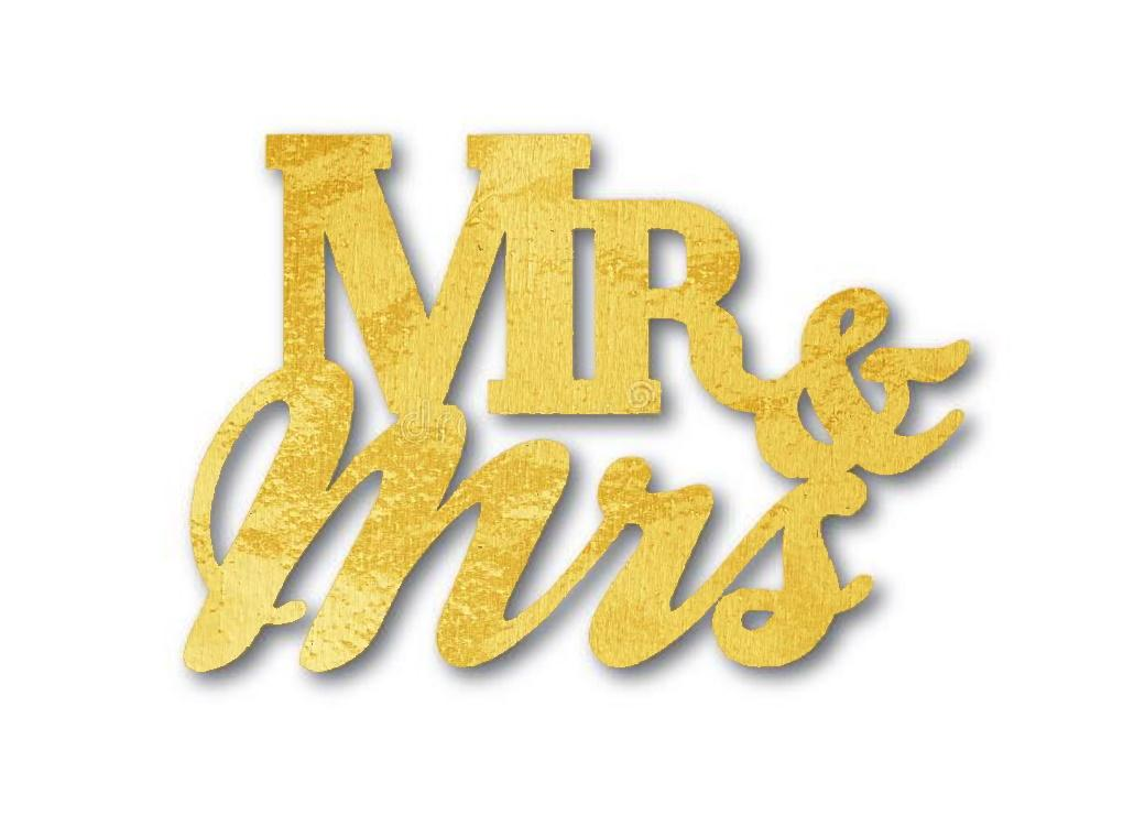 Jumbo Gold Confetti Scatters - Mr & Mrs