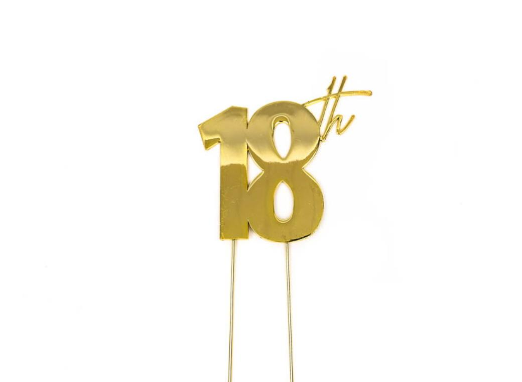 Gold Metal Cake Topper - 18th