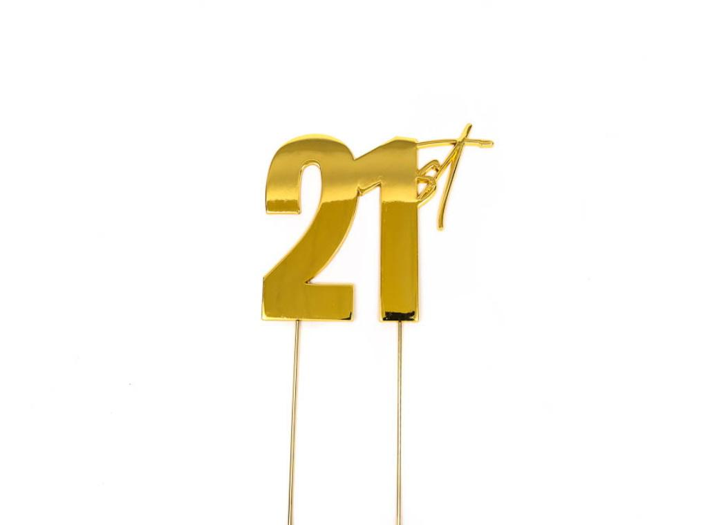 Gold Metal Cake Topper - 21st