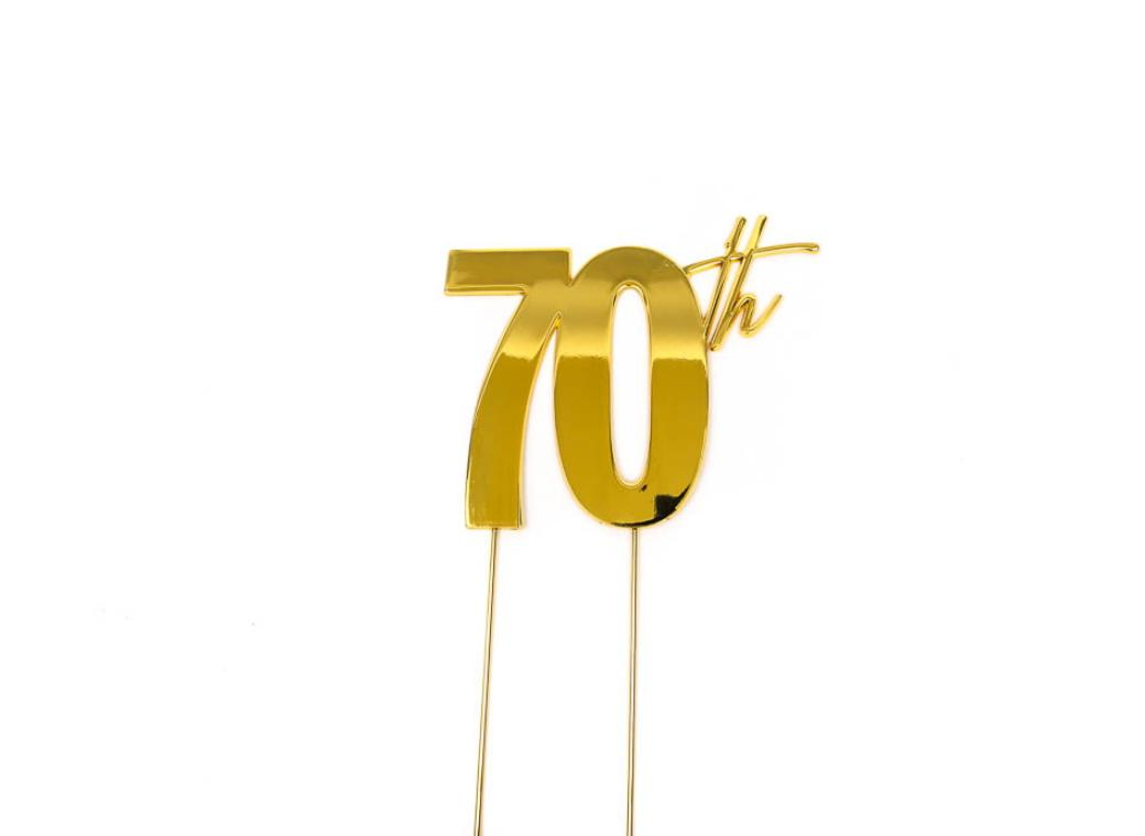 Gold Metal Cake Topper - 70th
