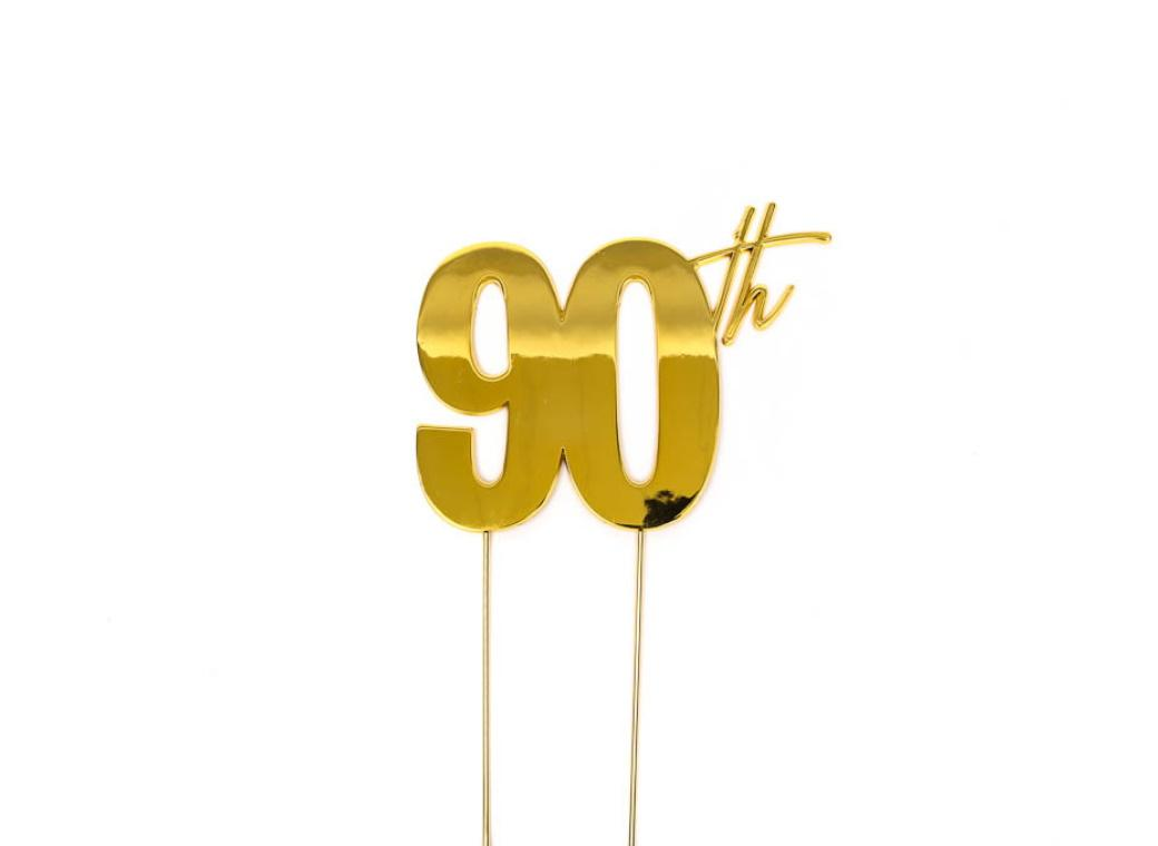 Gold Metal Cake Topper - 90th