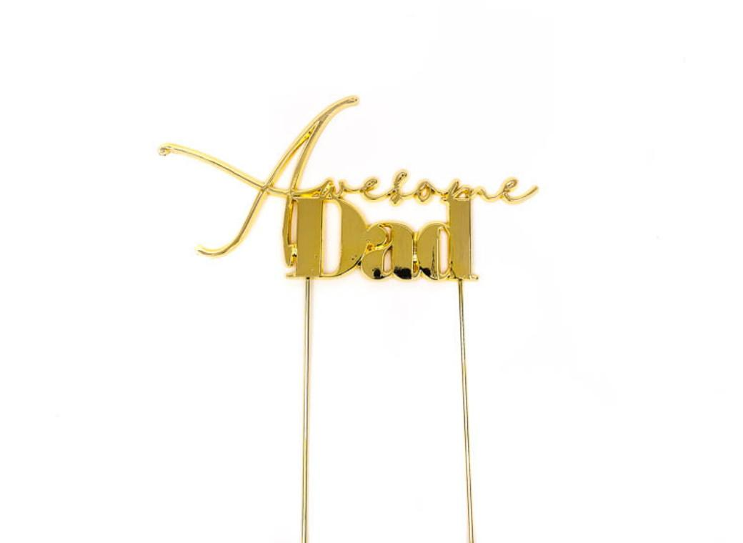 Gold Metal Cake Topper - Awesome Dad
