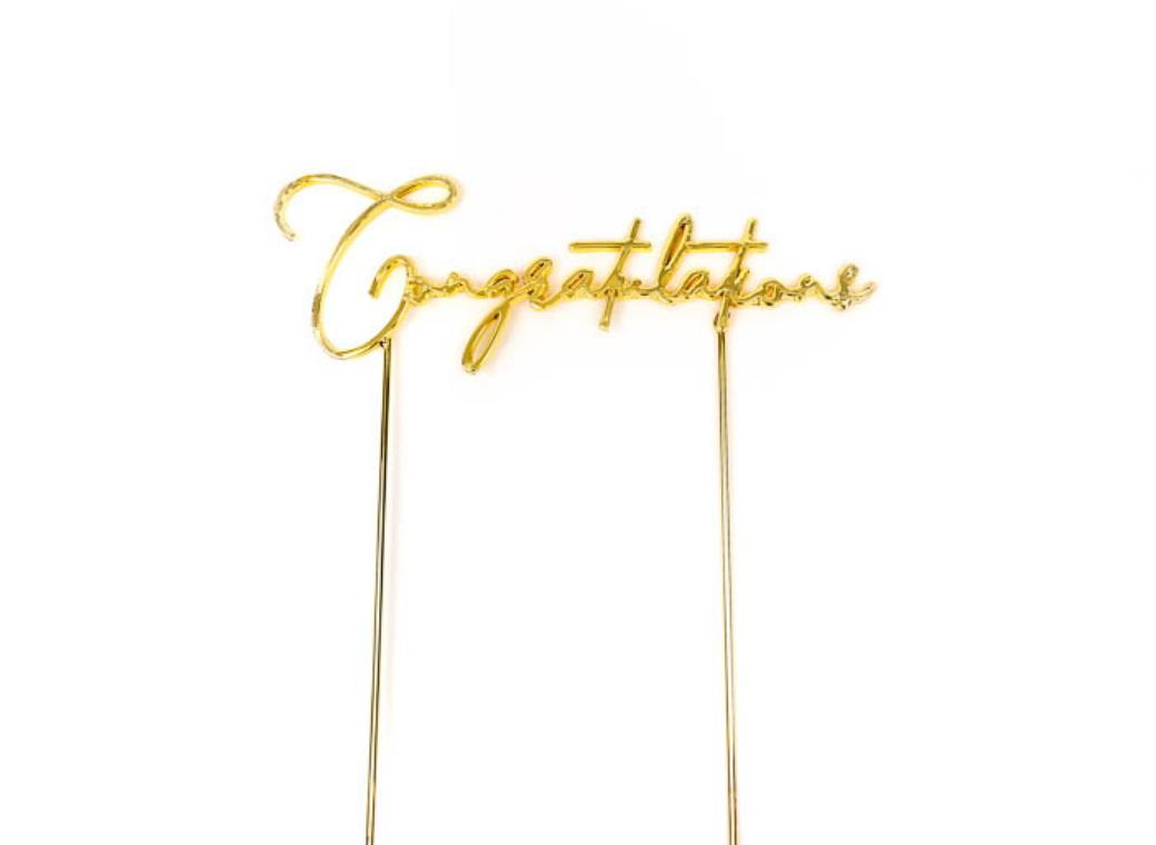Gold Metal Cake Topper - Congratulations