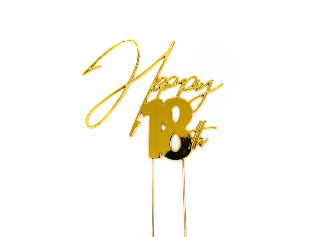 Gold Metal Cake Topper - Happy 18th
