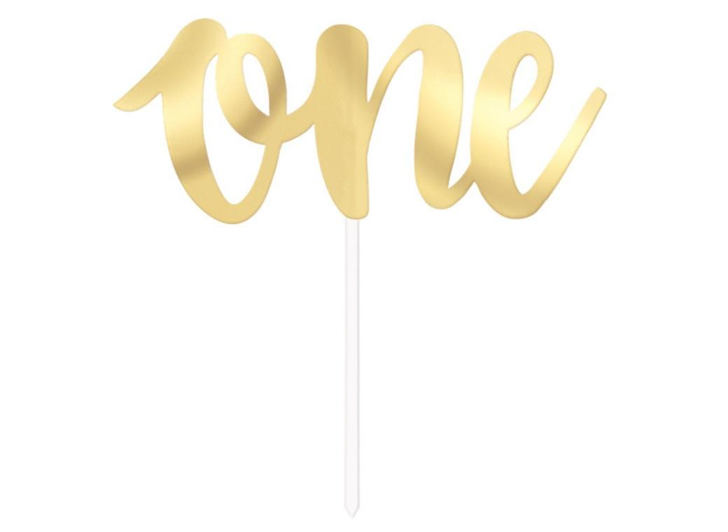 White Gold Foil Cake Topper - One