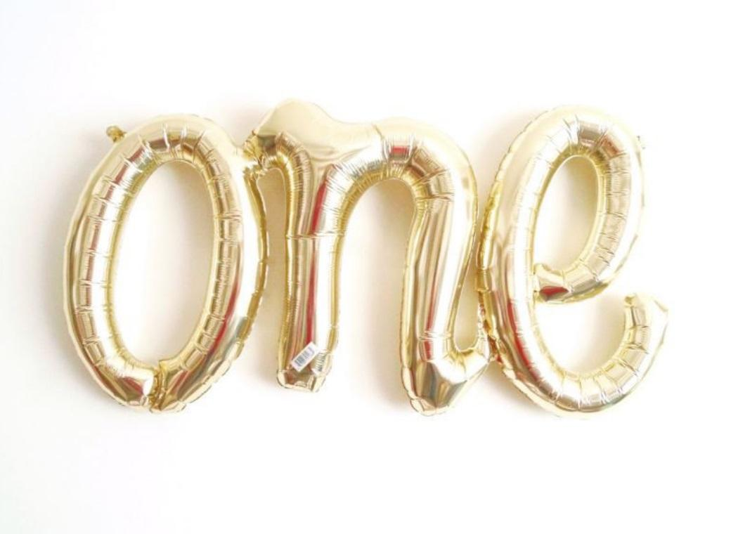 Gold 'One' Script Balloon