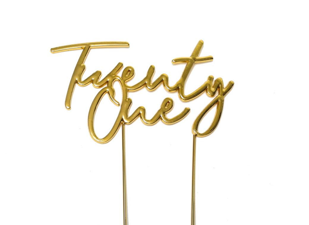 Gold Plated Cake Topper - Twenty One