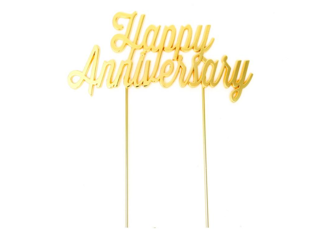 Gold Plated Cake Topper - Happy Anniversary