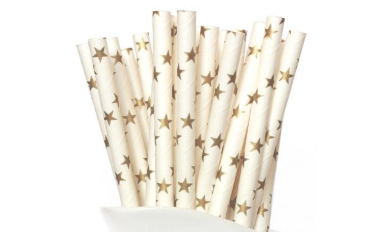 Paper Straws Gold Stars