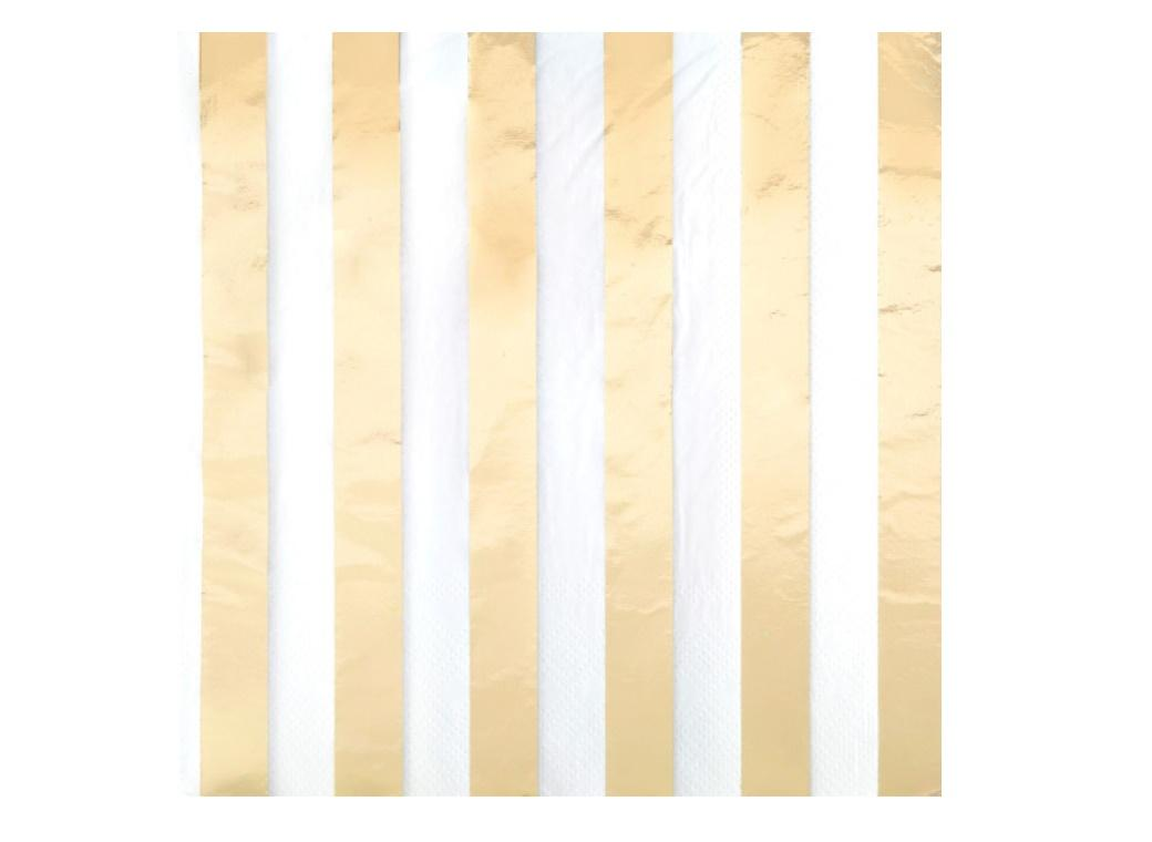 Gold Stripes Lunch Napkins 16pk