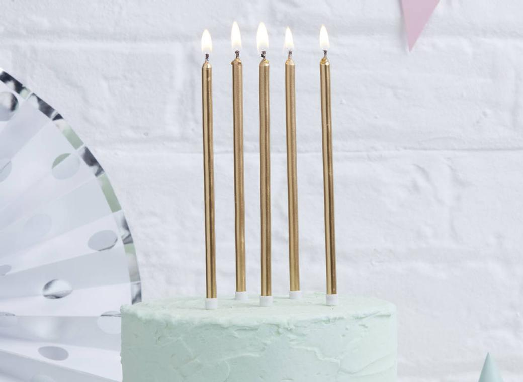 Gold Tall Candles - 12pk