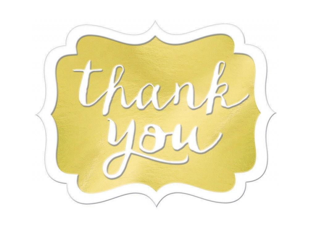 Thank You Stickers 50pk - Gold