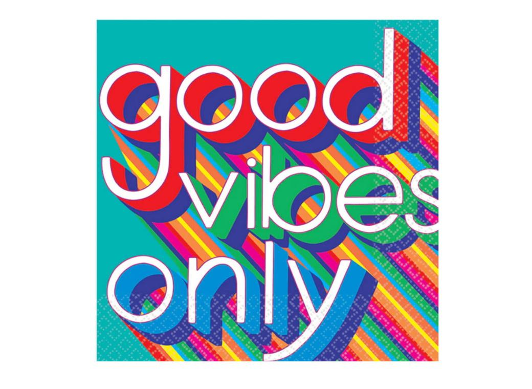 Good Vibes 70's Lunch Napkins 16pk