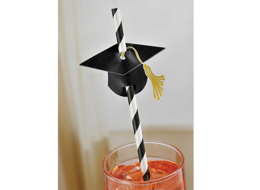 Paper Straws with Grad Caps 12pk