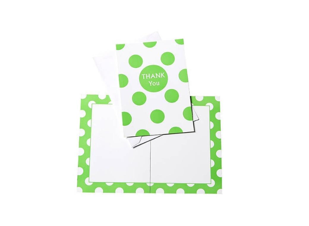 Green Polka Dot Thank You Cards