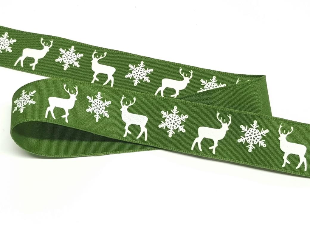 Reindeer Christmas Ribbon - Green