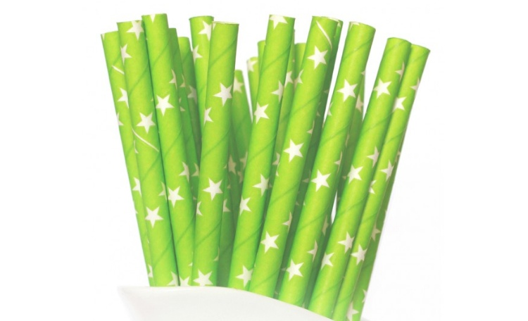Paper Straws Green with White Stars