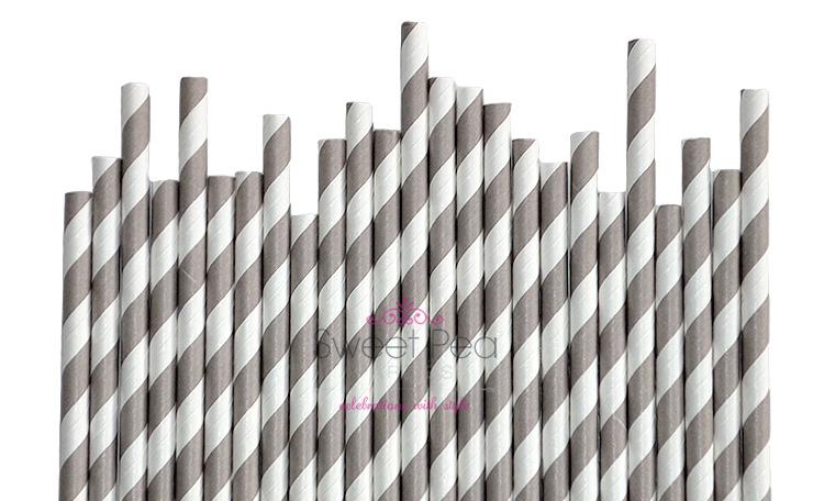 Paper Straws - Grey 25pk