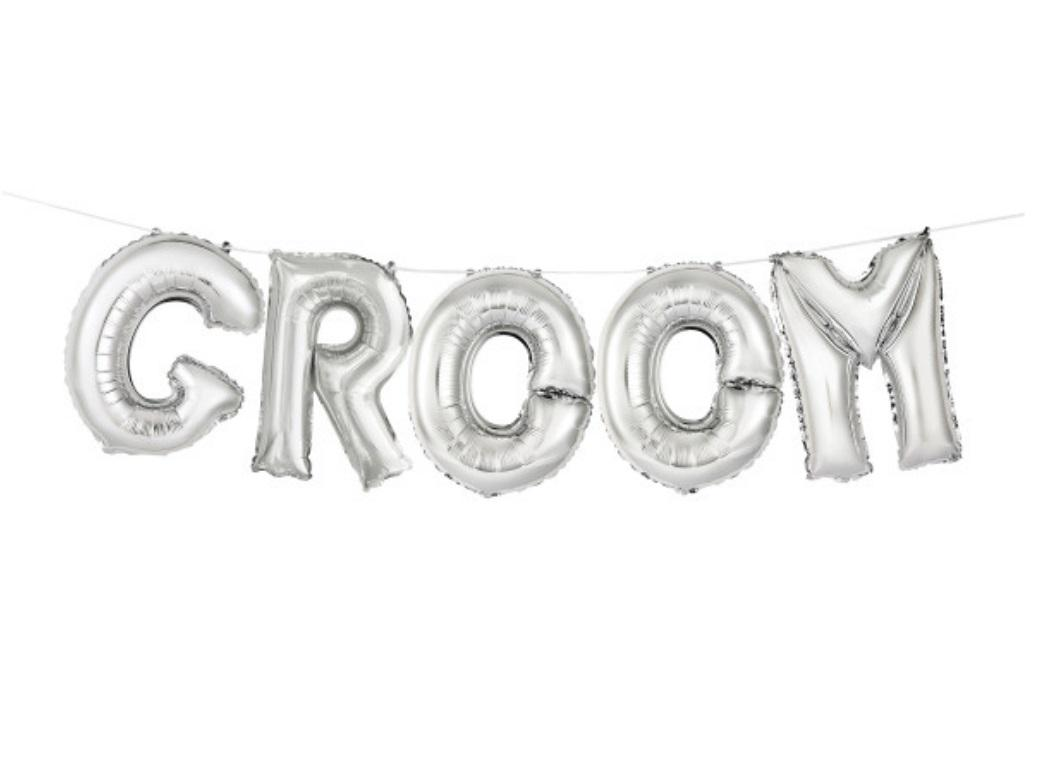 Balloon Banner Kit - Silver Groom