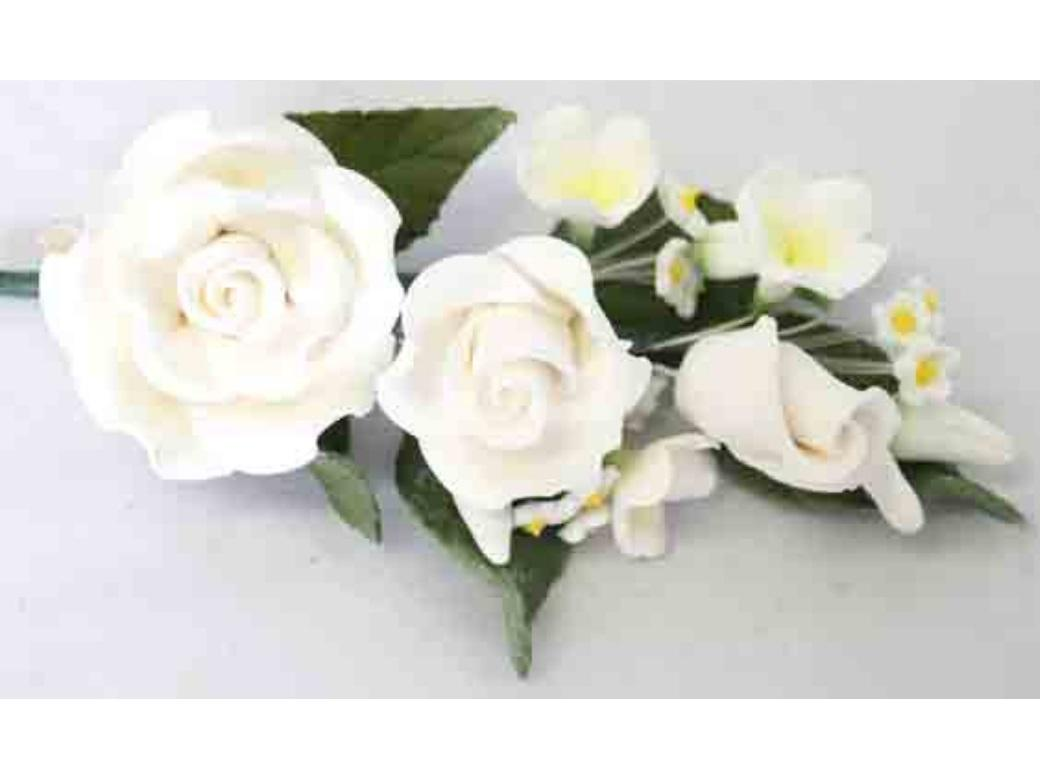 Gumpaste Rose Spray - White