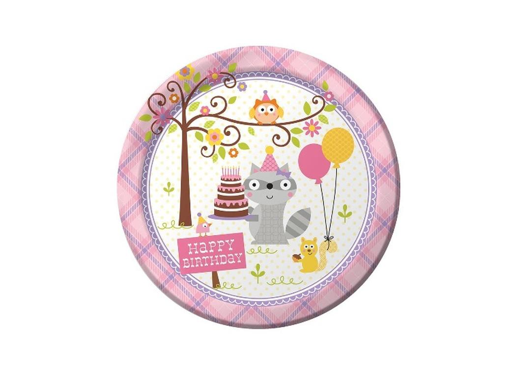 Happi Woodland Girl Dinner Plates - 8pk