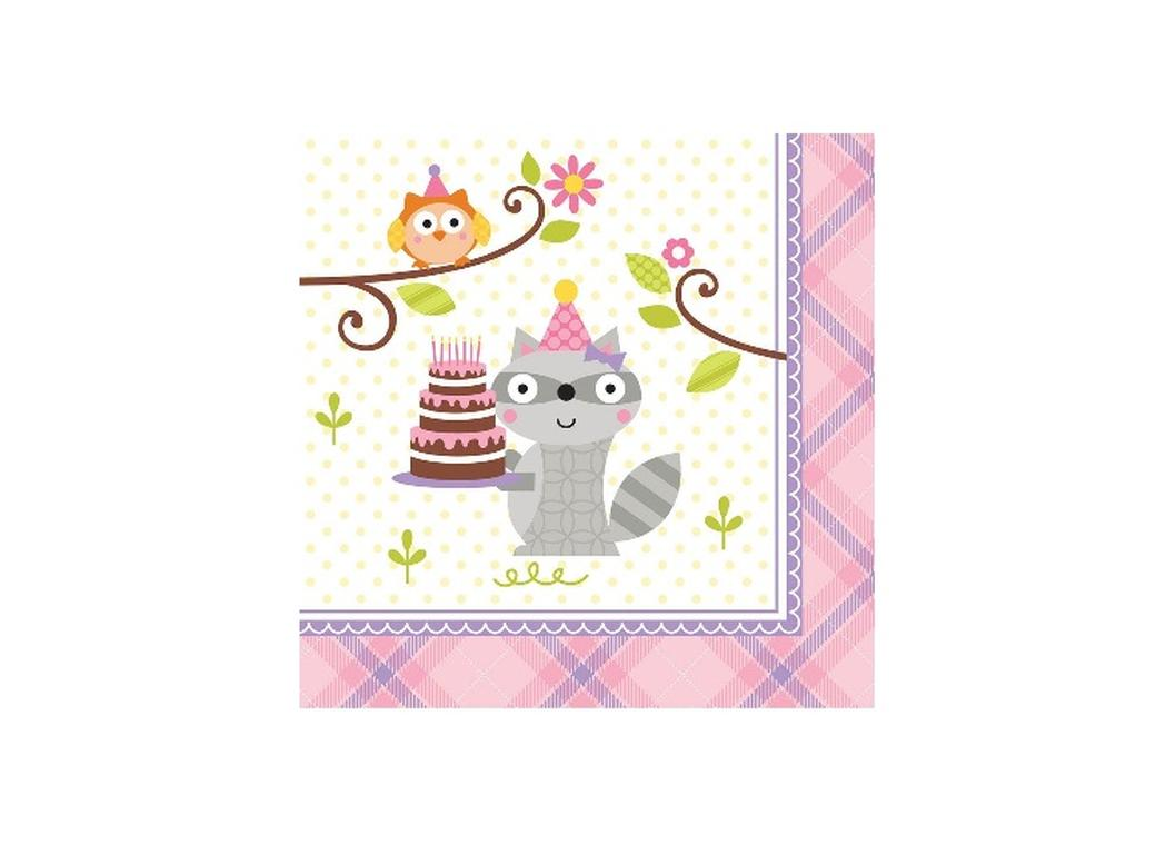 Happi Woodland Girl Beverage Napkins - 16pk
