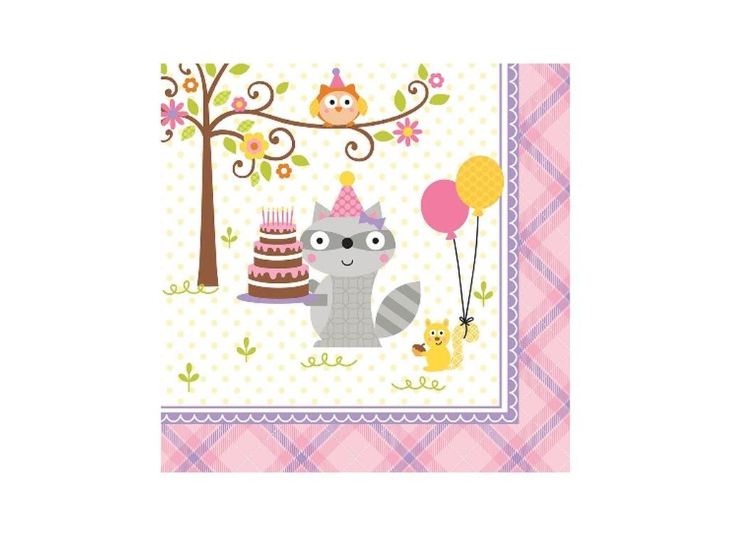 Happi Woodland Girl Lunch Napkins - 16pk