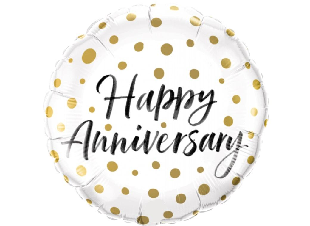 Happy Anniversary Gold Dots Foil Balloon