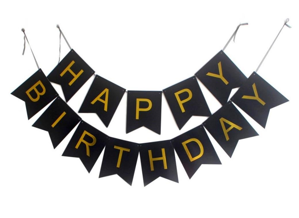 Black&Gold Happy Birthday Bunting