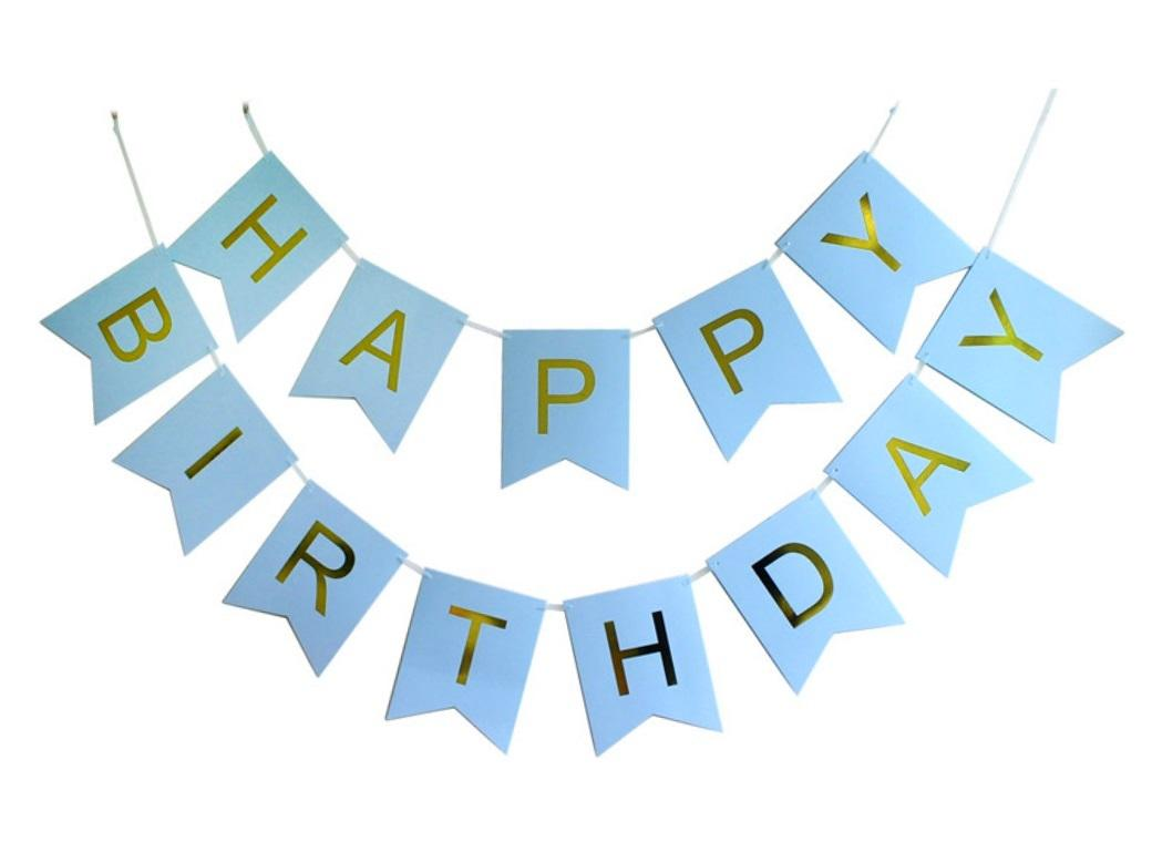 Blue&Gold Happy Birthday Bunting