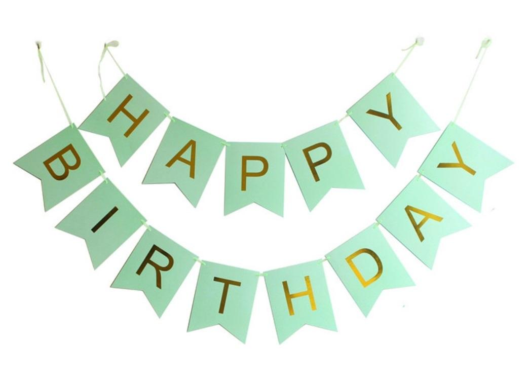 Mint & Gold Happy Birthday Bunting