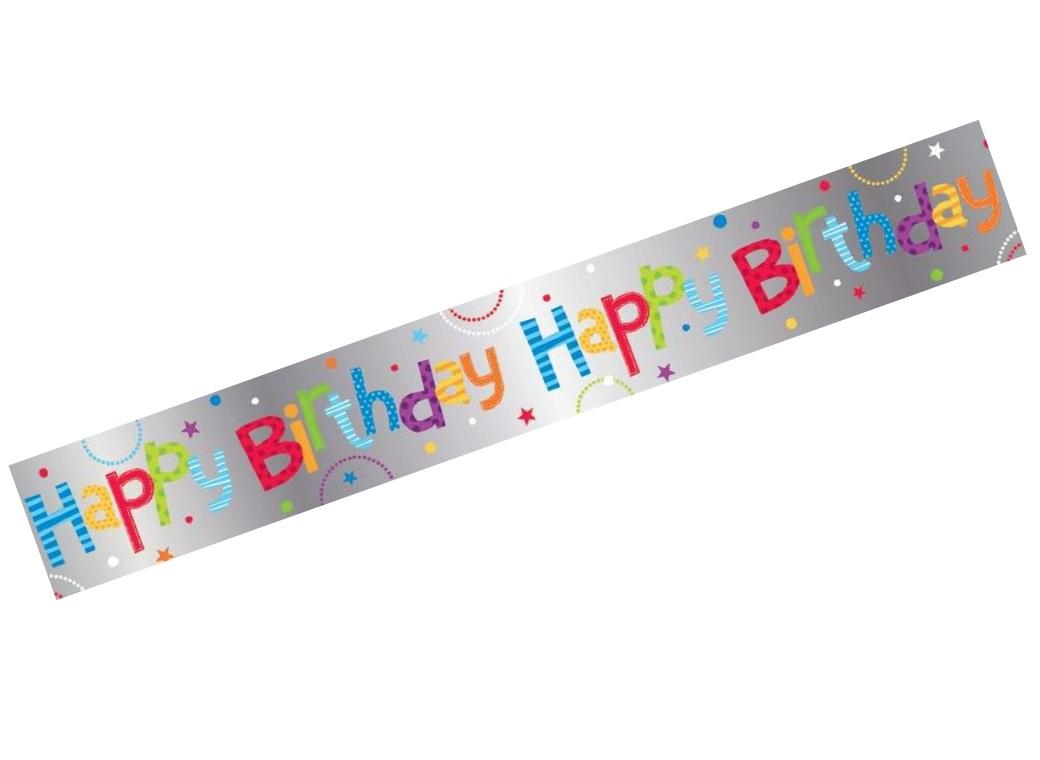 Happy Birthday Banner Rainbow Foil
