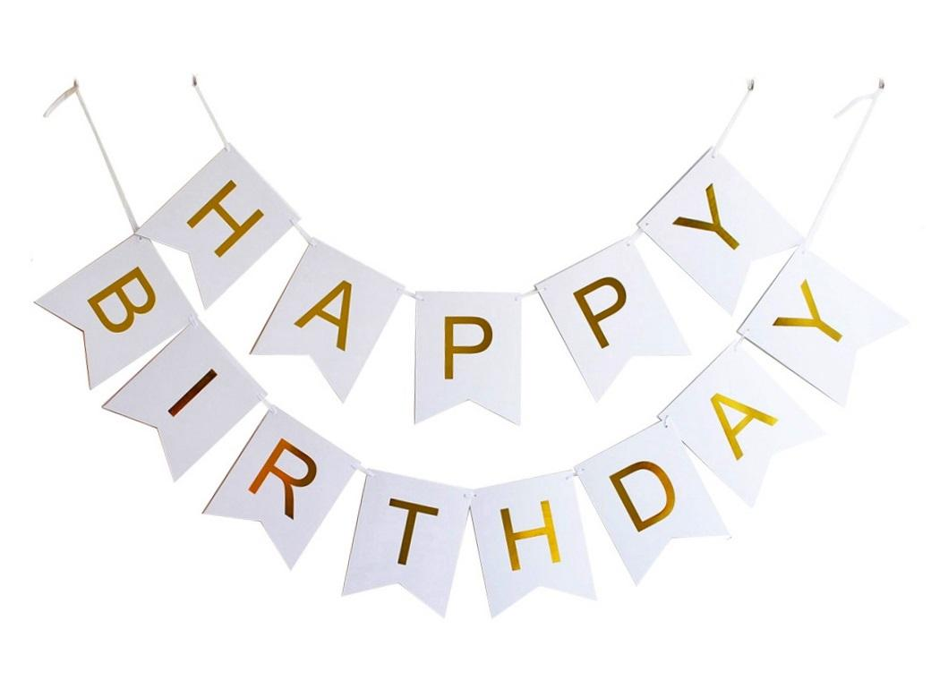 White&Gold Happy Birthday Bunting