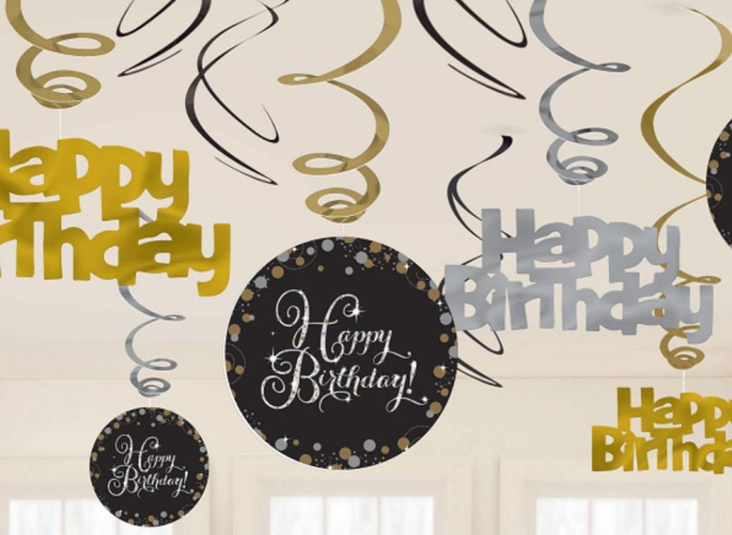 Sparkling Happy Birthday Hanging Swirls