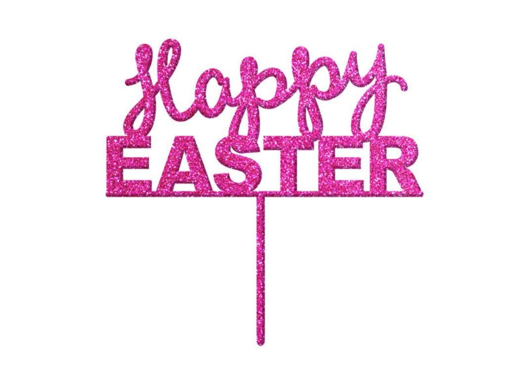 Easter Cake Topper - Pink Glitter