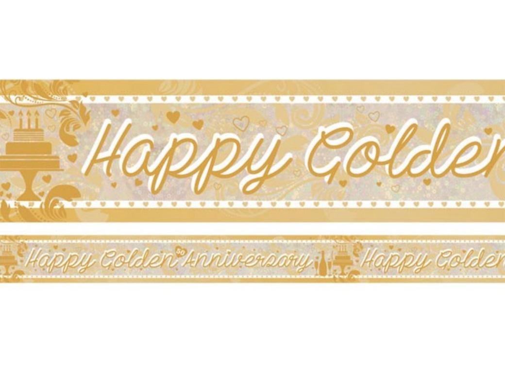 Foil Happy Golden Anniversary Banner