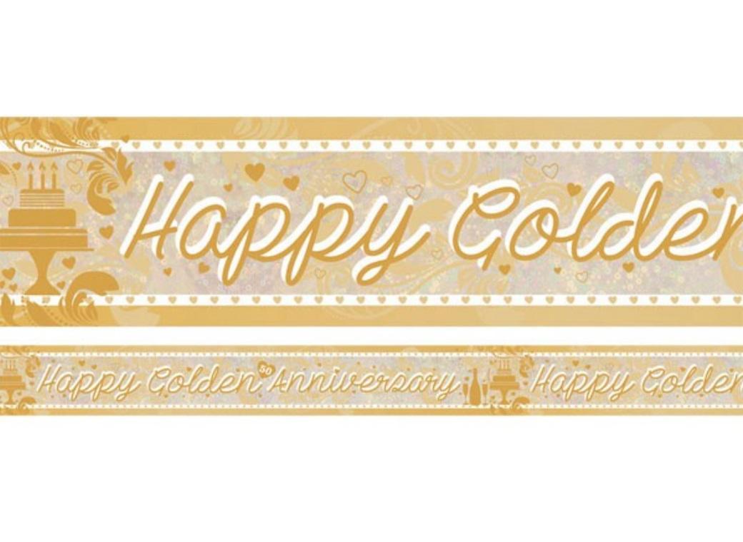 Foil Happy Golden Anniversary Banner