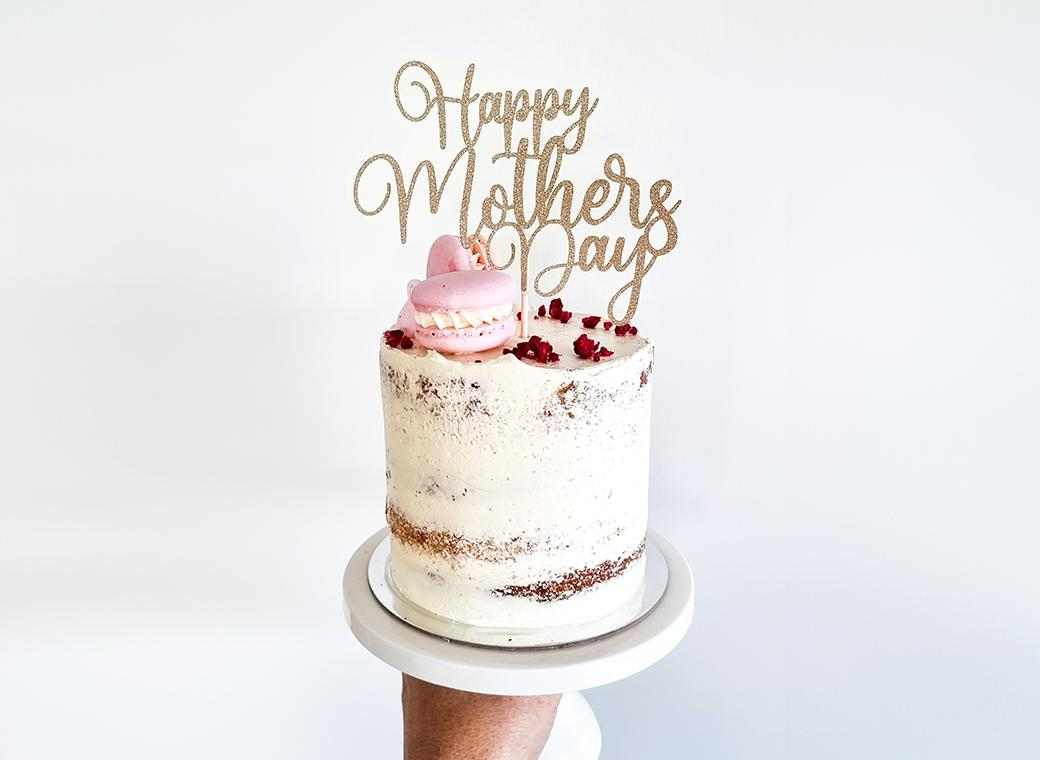 Happy Mother's Day Cake Topper - Gold Glitter