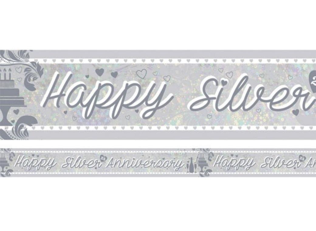 Foil Happy Silver Anniversary Banner