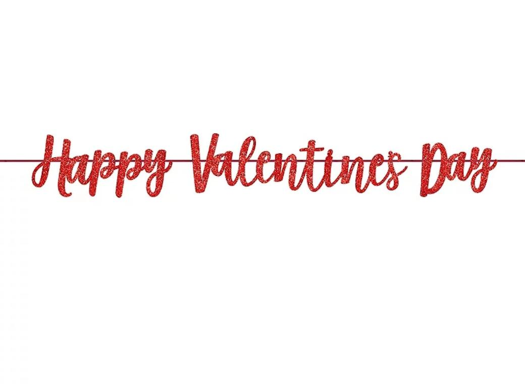 Happy Valentine's Day Red Glitter Banner