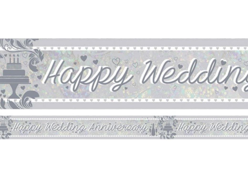 Foil Happy Wedding Anniversary Banner