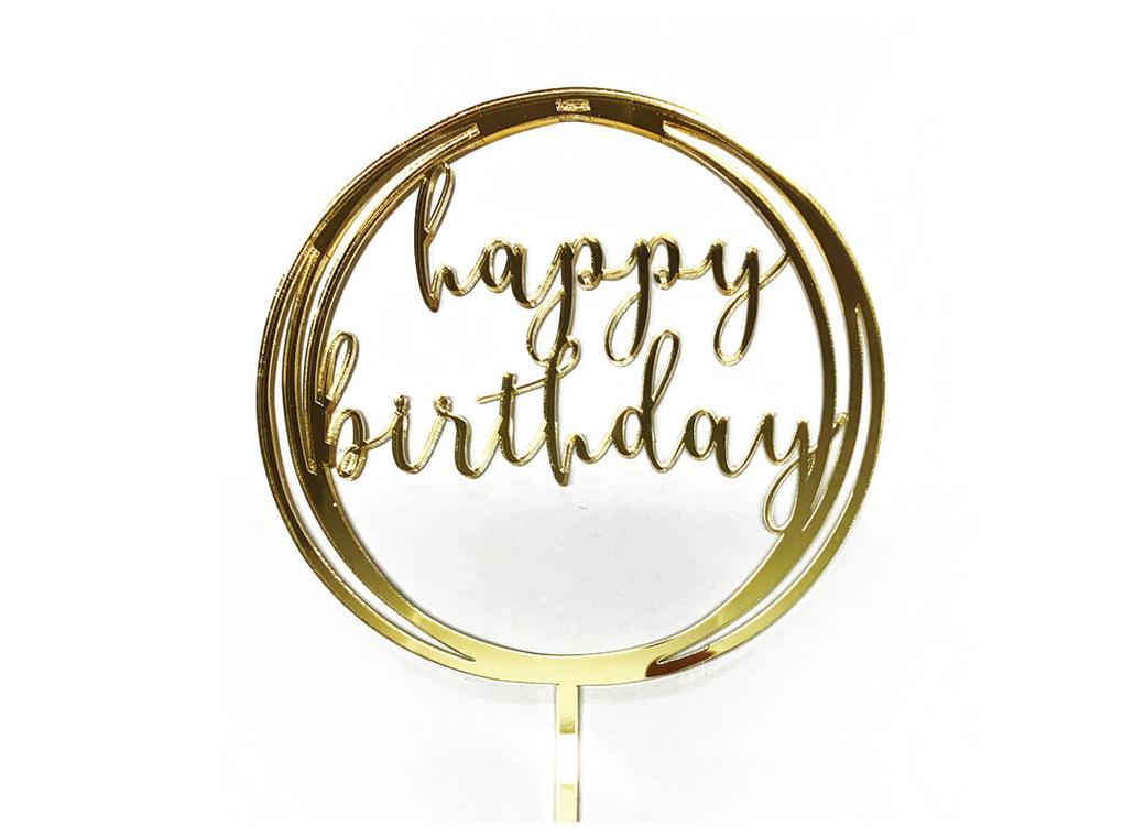 Circle Happy Birthday Topper - Gold