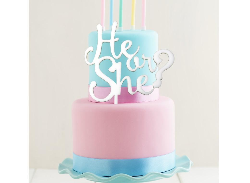White Acrylic Cake Topper - He or She