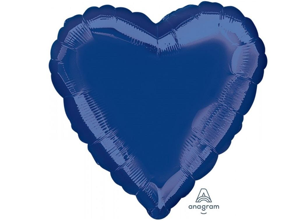 Heart Shaped Foil Balloon - Navy Blue