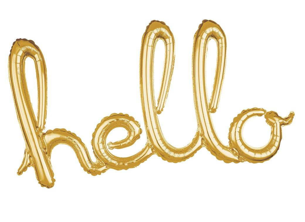 Script Balloon Gold Hello