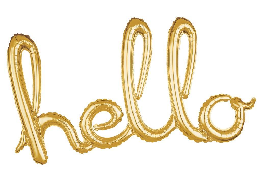 Script Balloon Gold Hello