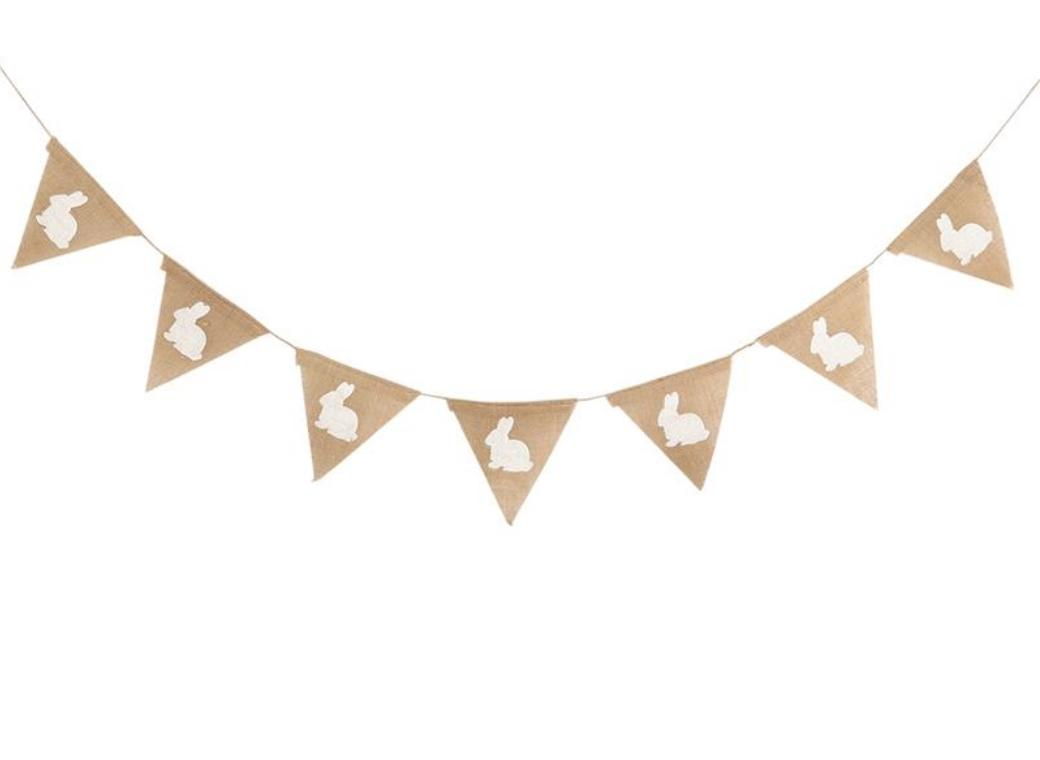 White Bunnies Hessian Bunting