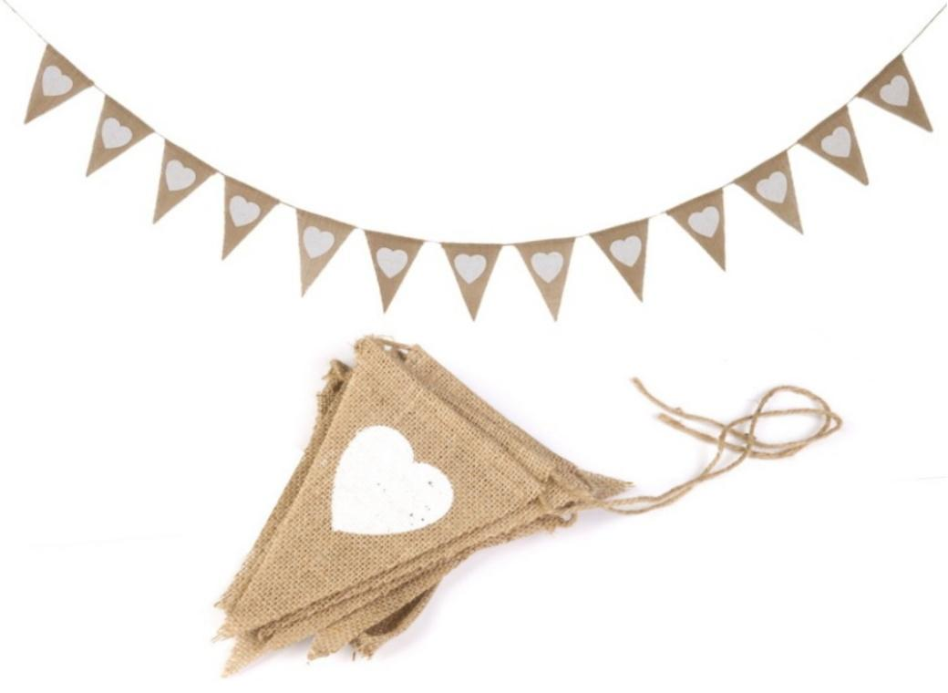 White Hearts Hessian Bunting