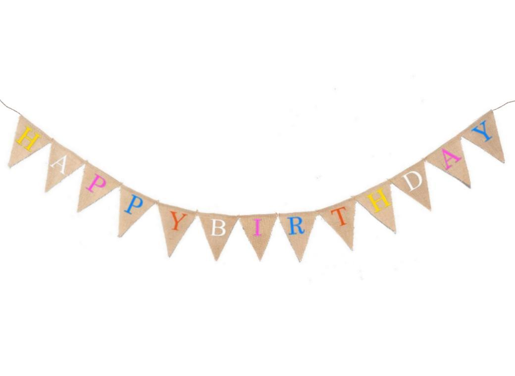 Hessian Bunting - Happy Birthday