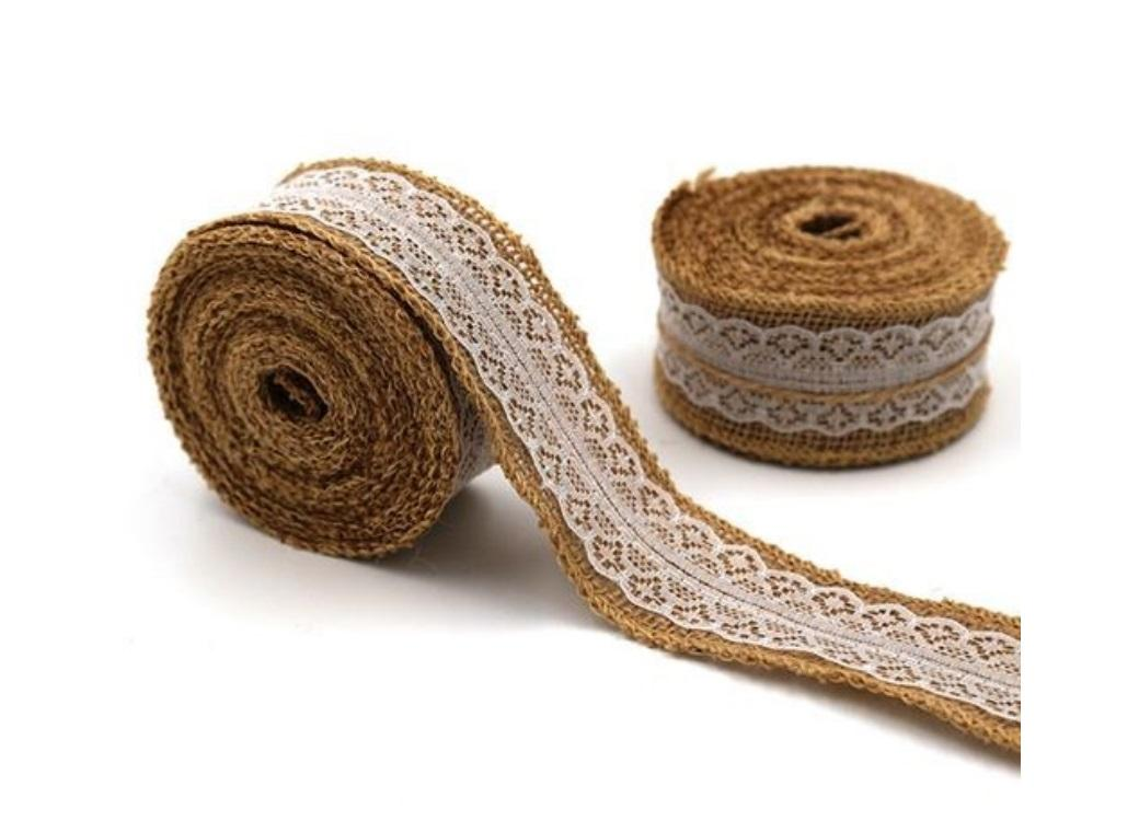 Hessian Ribbon with White Lace 40mm